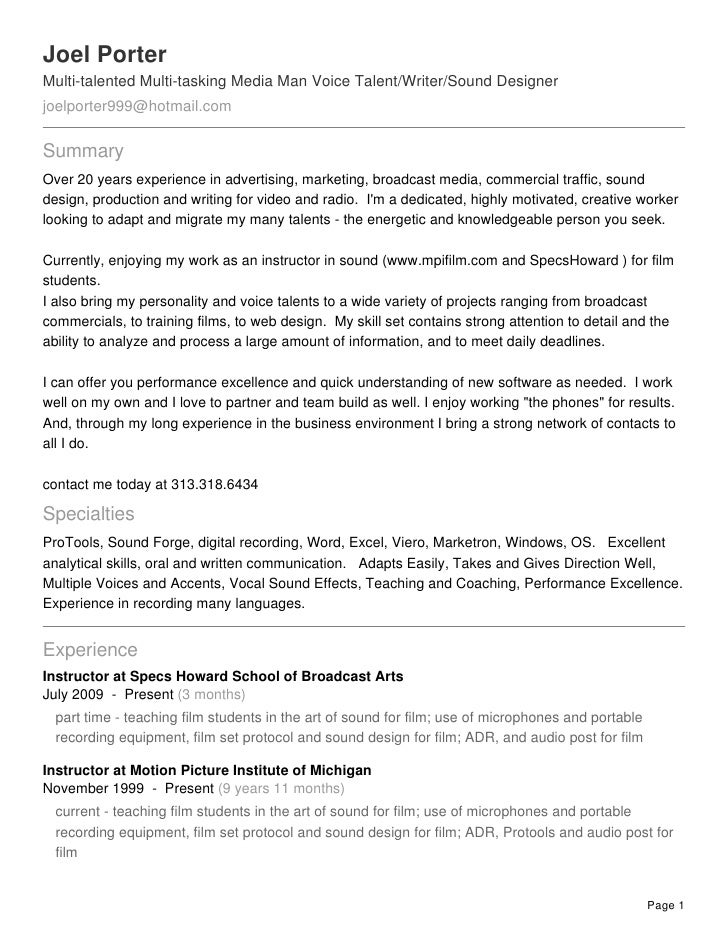 Recording Engineer Resume  Sound Engineer Resume