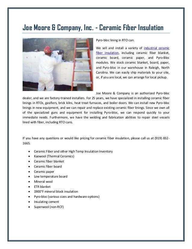 Joe Moore & Company, Inc  - Ceramic Fiber Insulation