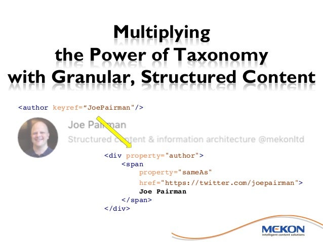 """Multiplying the Power of Taxonomy with Granular, Structured Content <div property=""""author""""> <span property=""""sameAs"""" href=""""..."""