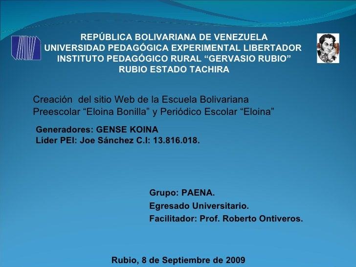 "REPÚBLICA BOLIVARIANA DE VENEZUELA UNIVERSIDAD PEDAGÓGICA EXPERIMENTAL LIBERTADOR  INSTITUTO PEDAGÓGICO RURAL ""GERVASIO RU..."