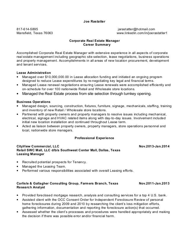 joe rastatter resume corporate real estate manager