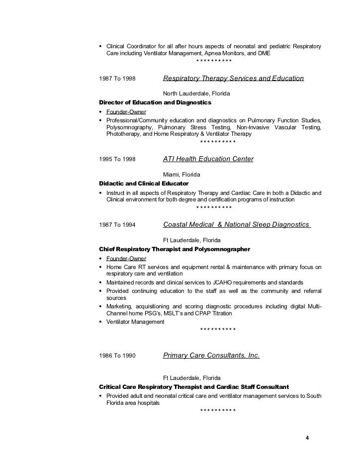 floridachief respiratory therapist 4 - Respiratory Therapist Resume