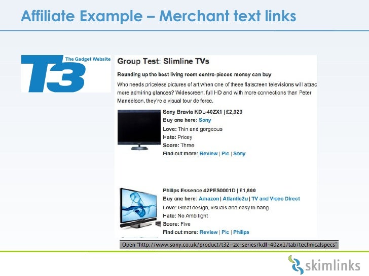 Affiliate Example  –  Merchant text links