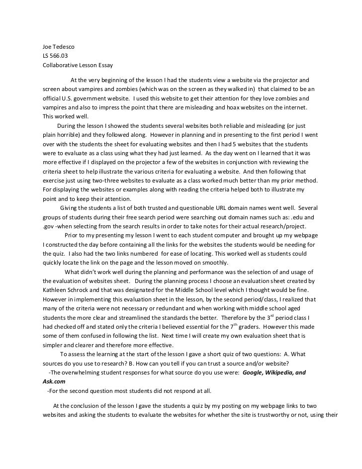Collaborative Teaching Essay ~ Essay on collaborative lesson