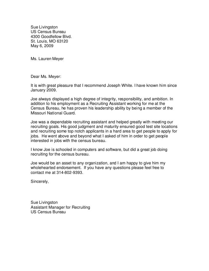 Census Bureau Recommendation Letter