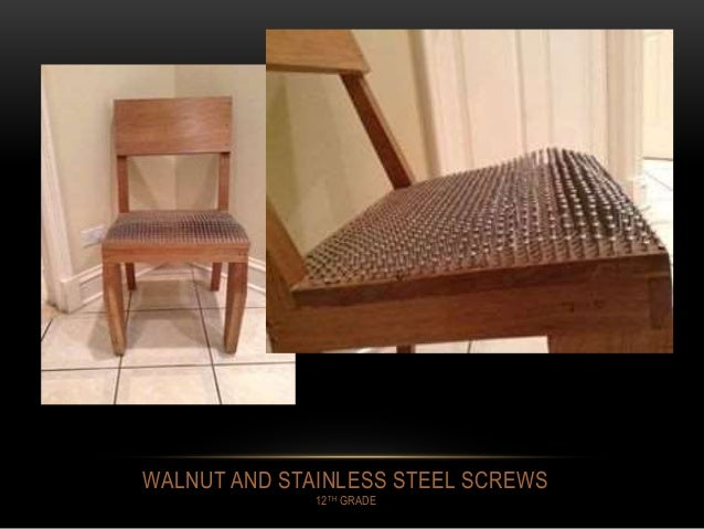 WALNUT AND STAINLESS STEEL SCREWS 12TH GRADE