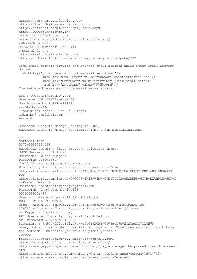 https://netsmartz.atlassian.net/ http://ithelpdesk.sebiz.net/support/ http://intranet.sebiz.net/ApplyLeave.aspx http://www...