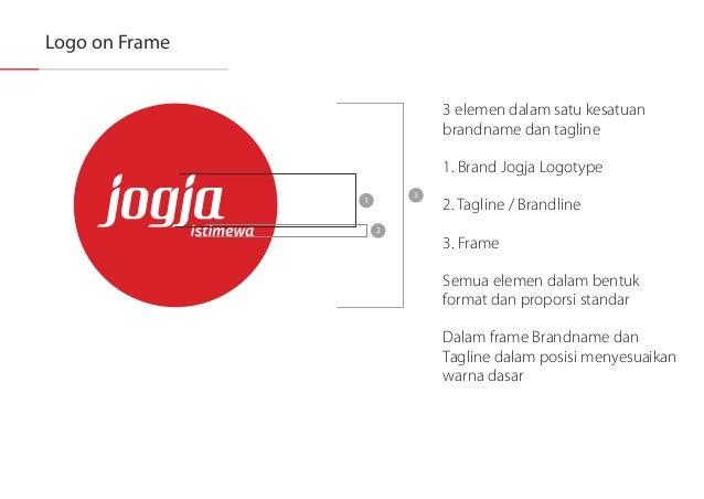 Logo on Frame  3 elemen dalam satu kesatuan brandname dan tagline  1. Brand Jogja Logotype  l l l l l / i' /  All 2.Taglin...