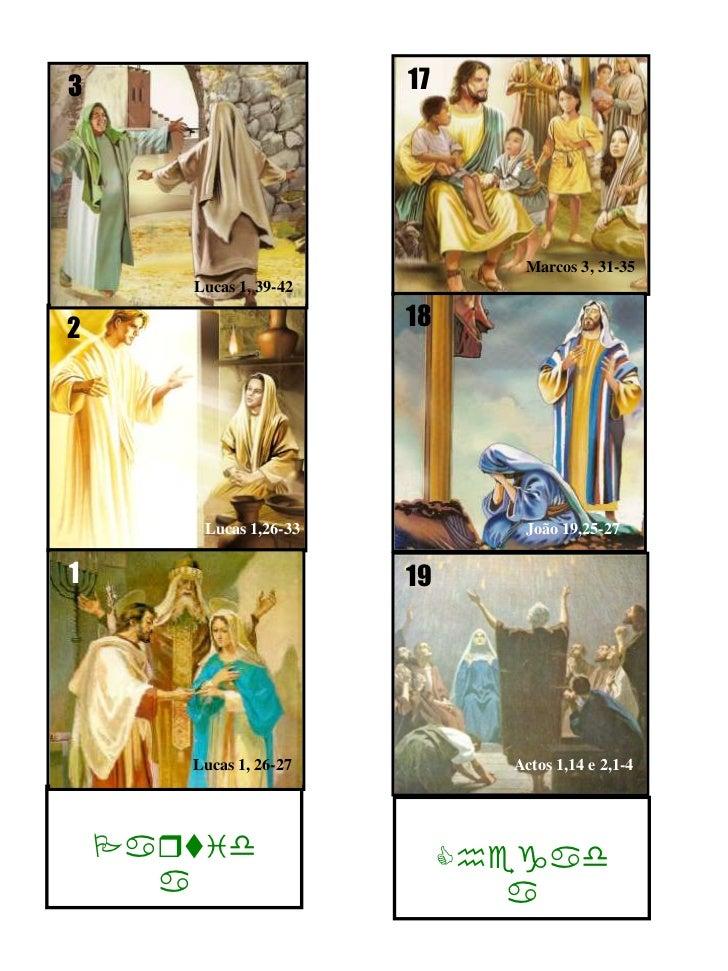 17<br />Marcos 3, 31-35<br />1<br />2<br />19<br />Partida<br />Chegada<br />3<br />Lucas 1,26-33<br />Actos 1,14 e 2,1-4<...