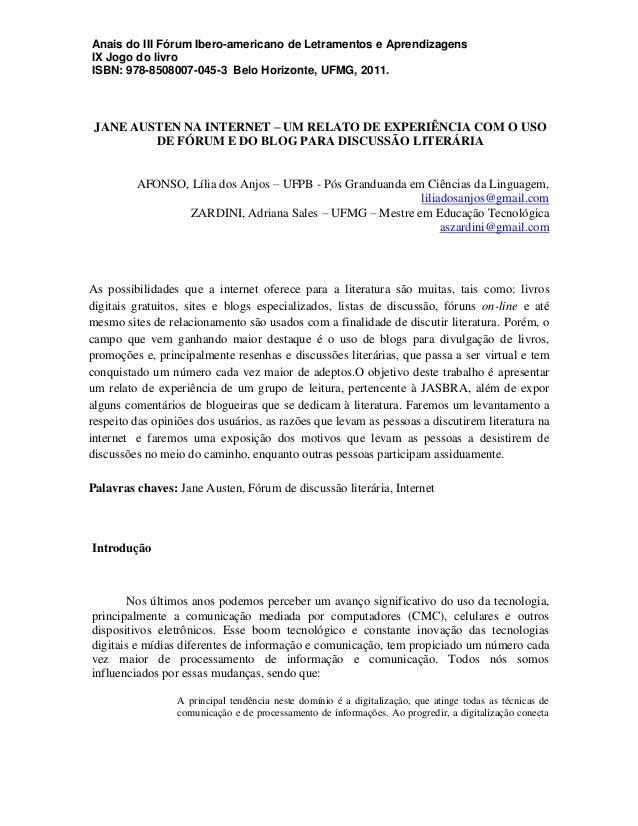 Anais do III Fórum Ibero-americano de Letramentos e Aprendizagens IX Jogo do livro ISBN: 978-8508007-045-3 Belo Horizonte,...