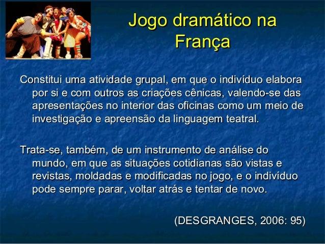 Jogo dramático naJogo dramático na FrançaFrança Constitui uma atividade grupal, em que o indivíduo elaboraConstitui uma at...