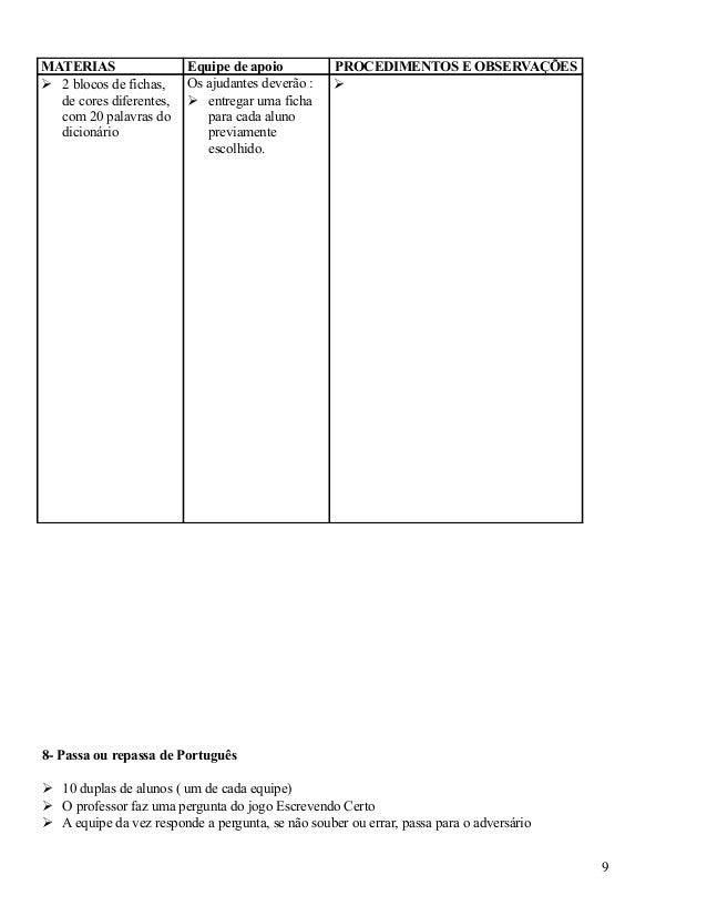 MATERIAS  2 blocos de fichas, de cores diferentes, com 20 palavras do dicionário  Equipe de apoio Os ajudantes deverão : ...