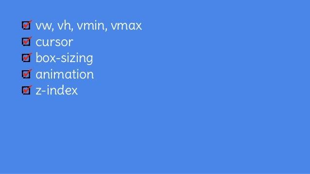 vw, vh, vmin, vmax cursor box-sizing animation z-index seletores counter