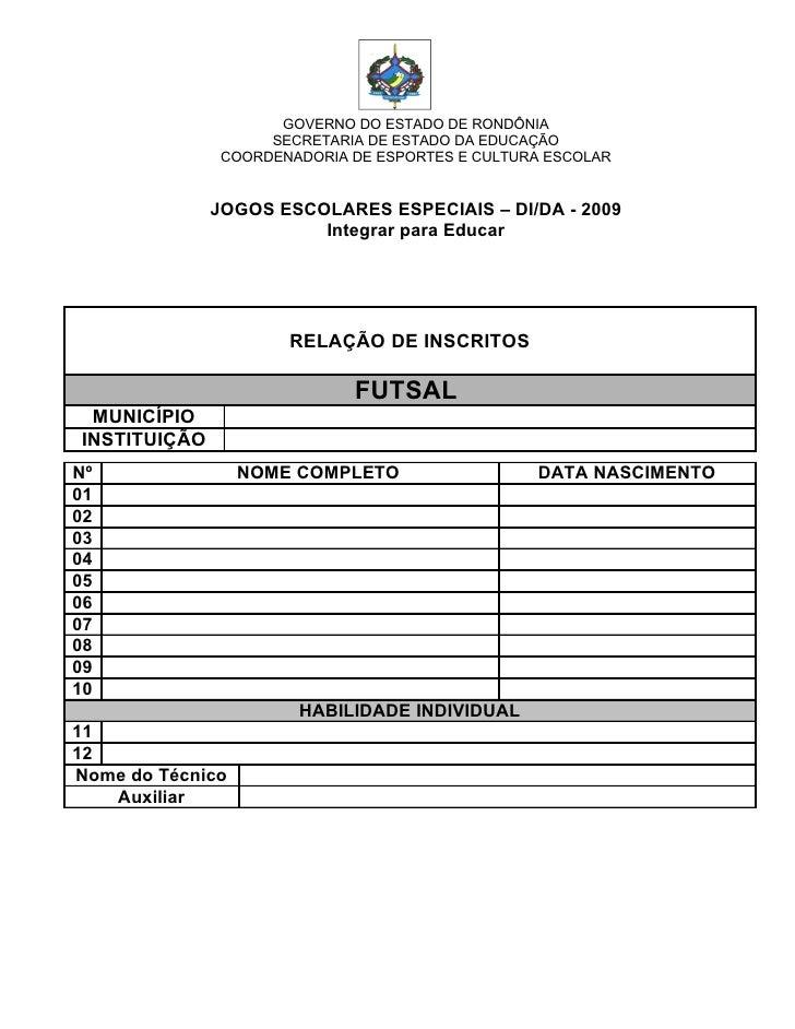 GOVERNO DO ESTADO DE RONDÔNIA                     SECRETARIA DE ESTADO DA EDUCAÇÃO                COORDENADORIA DE ESPORTE...