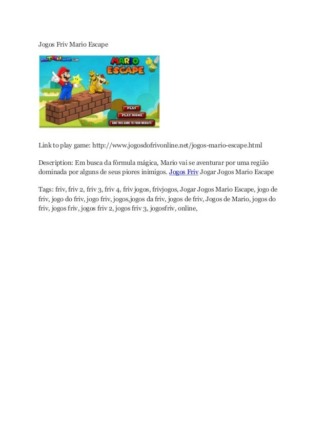 Jogos Friv Mario Escape