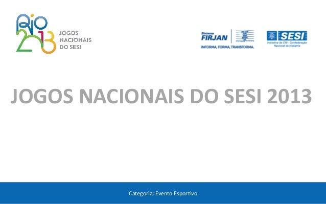 Categoria: Evento Esportivo  JOGOS NACIONAIS DO SESI 2013