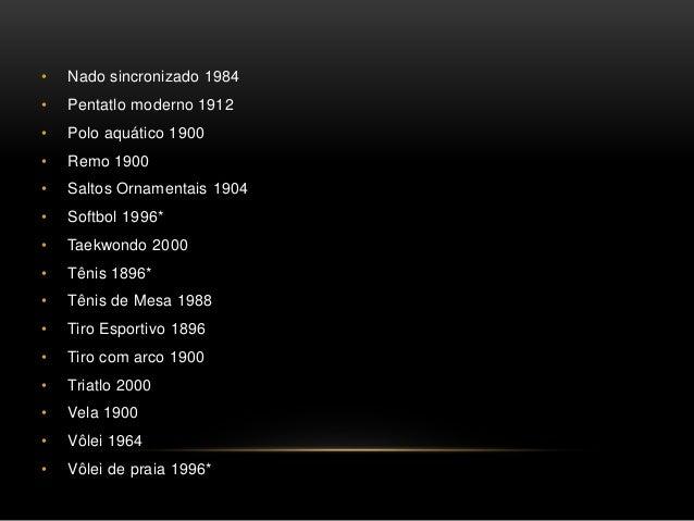 • Nado sincronizado 1984 • Pentatlo moderno 1912 • Polo aquático 1900 • Remo 1900 • Saltos Ornamentais 1904 • Softbol 1996...