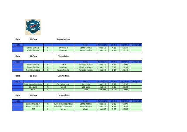 Data 16-Sep Segunda-feira Jogos Local Categoria Chave Horario Delegado Santa Emilia X Evolucao Santa Emilia sub 13 A 13 19...