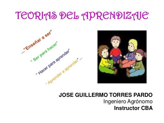 TEORIAS DEL APRENDIZAJE JOSE GUILLERMO TORRES PARDO Ingeniero Agrónomo Instructor CBA