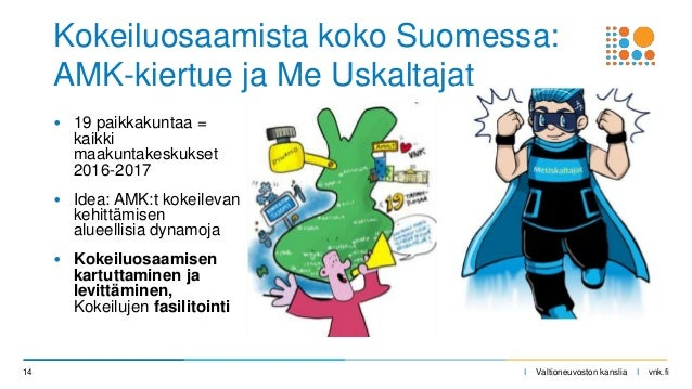 I Valtioneuvoston kanslia I vnk.fi • 19 paikkakuntaa = kaikki maakuntakeskukset 2016-2017 • Idea: AMK:t kokeilevan kehittä...