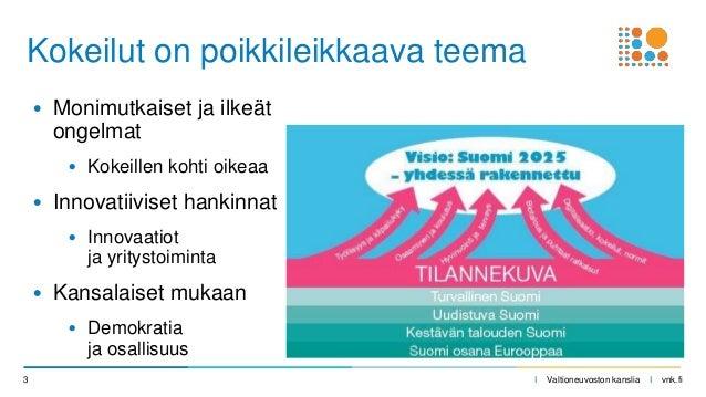 I Valtioneuvoston kanslia I vnk.fi • Monimutkaiset ja ilkeät ongelmat • Kokeillen kohti oikeaa • Innovatiiviset hankinnat ...