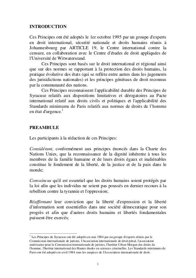 1 INTRODUCTION Ces Principes ont été adoptés le 1er octobre 1995 par un groupe d'experts en droit international, sécurité ...