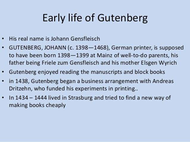 a biography of johannes gutenberg Images and video for johannes gutenberg (german printer).