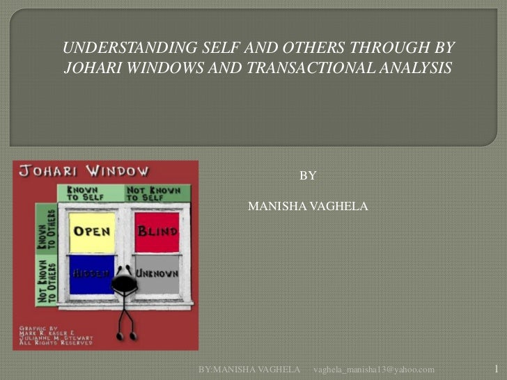 UNDERSTANDING SELF AND OTHERS THROUGH BYJOHARI WINDOWS AND TRANSACTIONAL ANALYSIS                               BY        ...