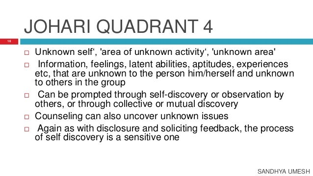 self analysis through johari window A johari window is a psychological tool created by joseph luft and johari window – self assessment and can be prompted through self-discovery or.