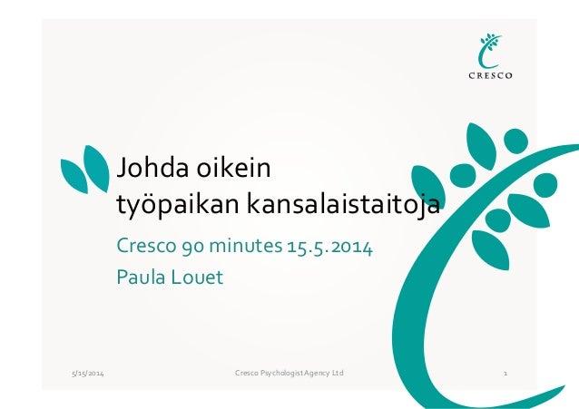 5/15/2014 Cresco Psychologist Agency Ltd 1 Johda oikein työpaikan kansalaistaitoja Cresco 90 minutes 15.5.2014 Paula Louet
