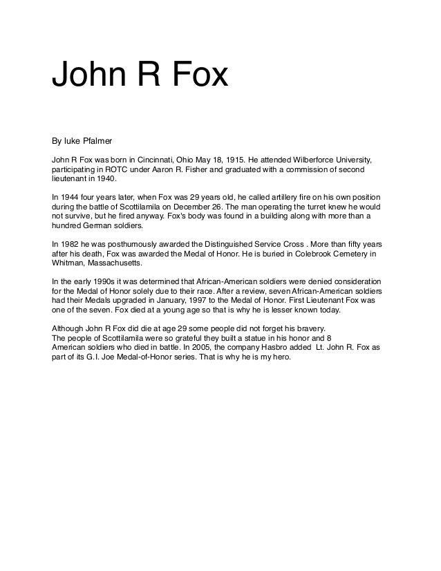 John R Fox  By luke Pfalmer     John R Fox was born in Cincinnati, Ohio May 18, 1915. He attended Wilberforce University, ...