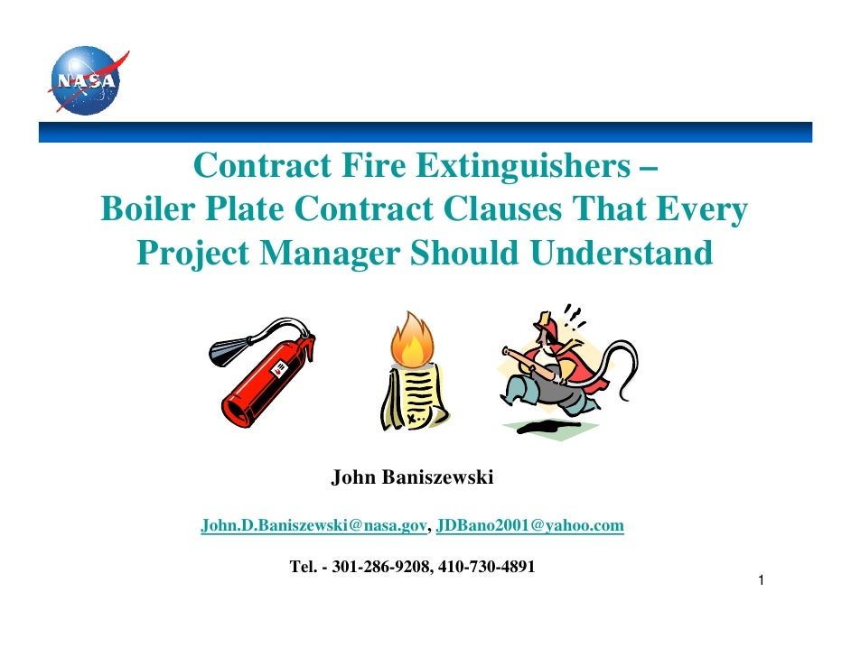 Contract Fire Extinguishers –Boiler Plate Contract Clauses That Every  Project Manager Should Understand                  ...