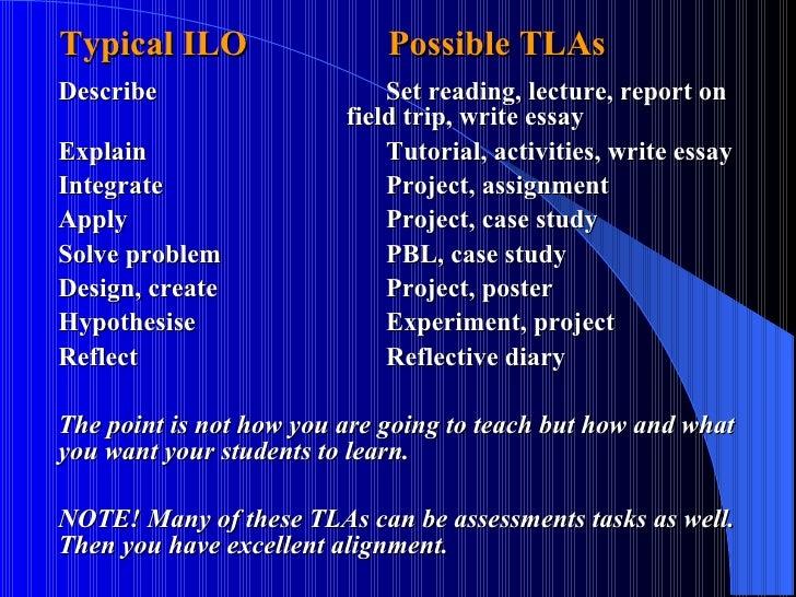 Typical ILO   Possible TLAs <ul><li>Describe Set reading, lecture, report on  field trip, write essay </li></ul><ul><li>...