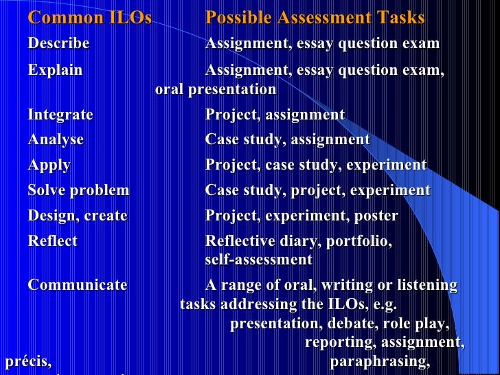 Common ILOs  Possible Assessment Tasks Describe Assignment, essay question exam Explain Assignment, essay question exam,  ...