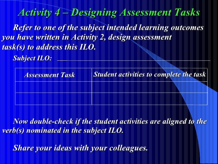 Activity 4 – Designing Assessment Tasks Refer to one of the subject intended learning outcomes  you have written in Activi...
