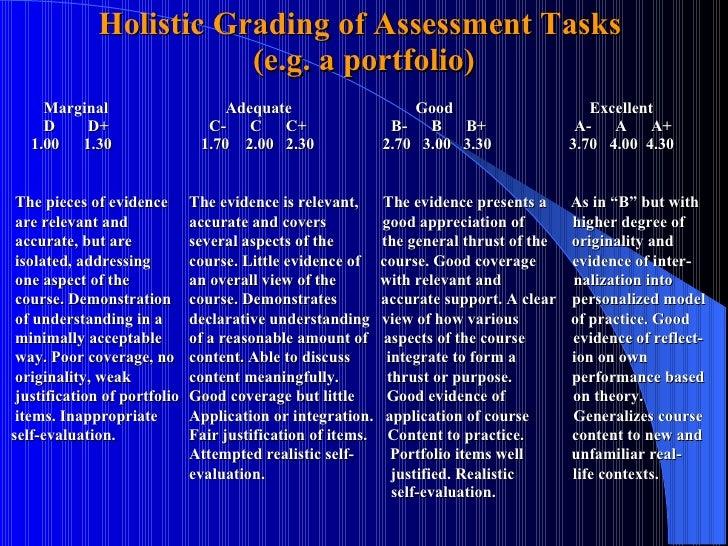 Holistic Grading of Assessment Tasks  (e.g. a portfolio) Marginal   Adequate     Good    Excellent D   D+       C-  C  C+ ...