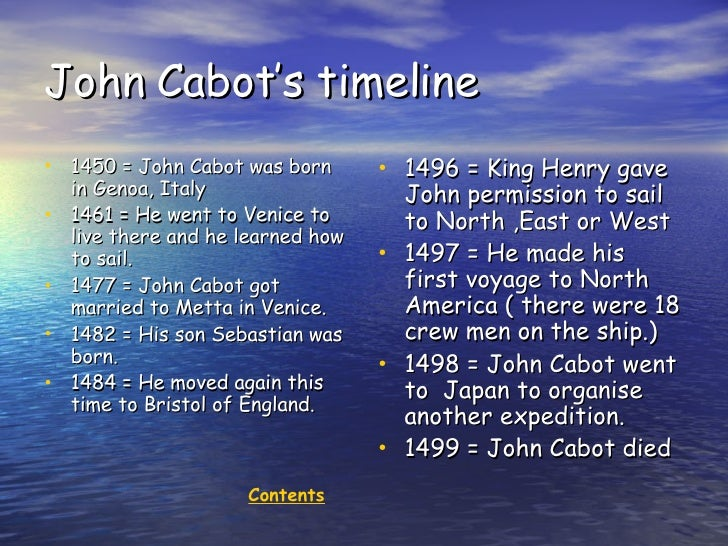 what country did john cabot sail for