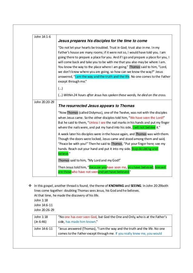 John 20 24 29 - sermon outline DOUBTING THOMAS