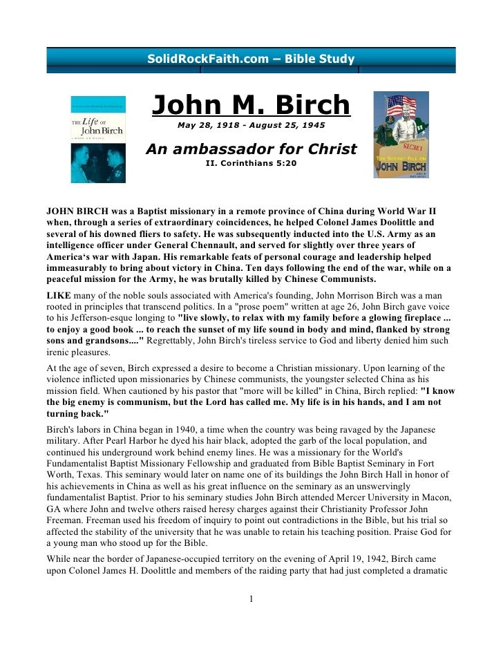 SolidRockFaith.com – Bible Study                               John M. Birch                                   May 28, 191...