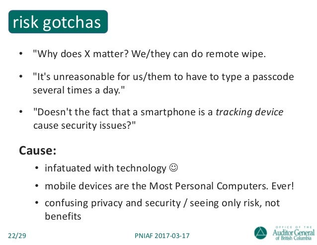 Smartphones & tablets in government — a CISO-turned-auditor's take on mobile devices Slide 22