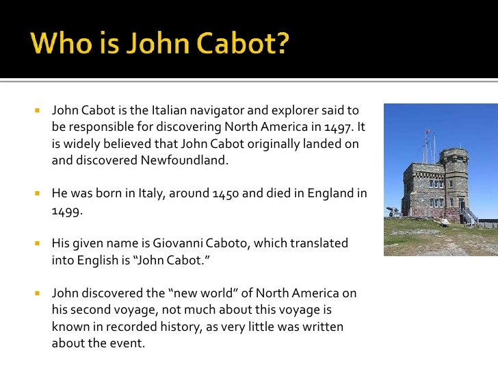 what did john cabot find in north america