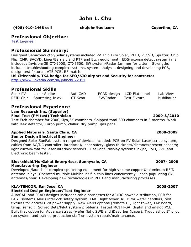 Mobile Phone Test Engineer Cover Letter Software Test Engineer ...