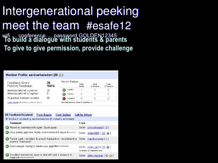 Intergenerational peekingmeet the team #esafe12wifi … conference…. password GOLDEN12345To build a dialogue with students &...