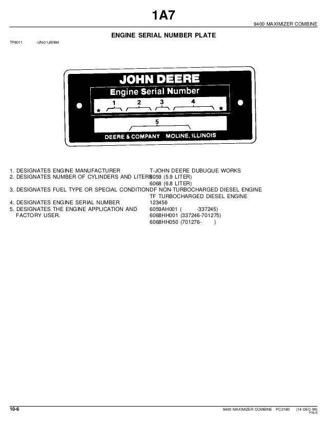 model tf serial number 1483359 john deere