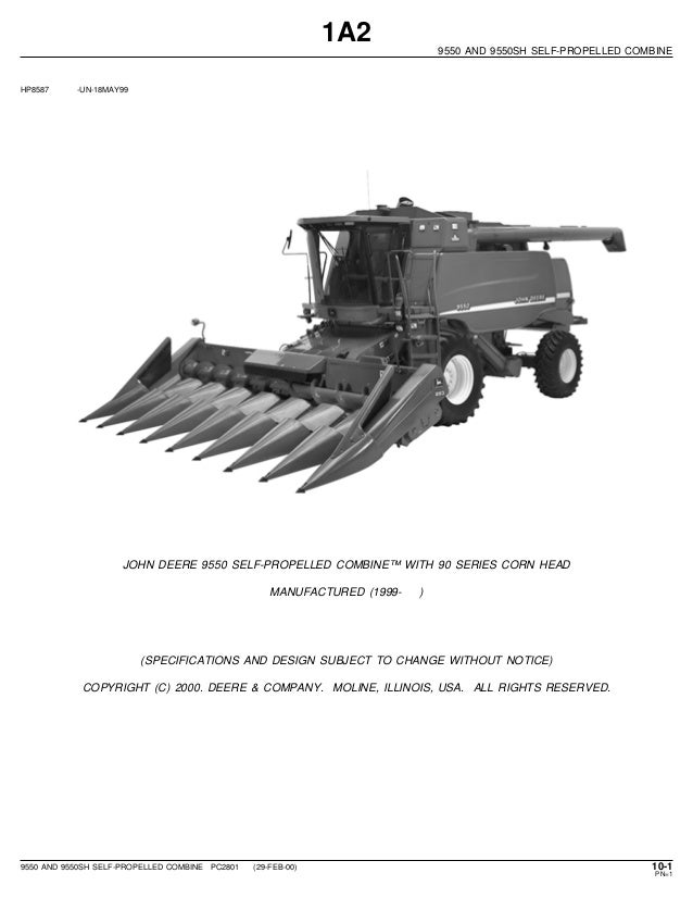 john deere 9550 and 9550 sh self p rolled combine parts catalog 9500 john deere combine parts diagram john deere combine parts diagram #9