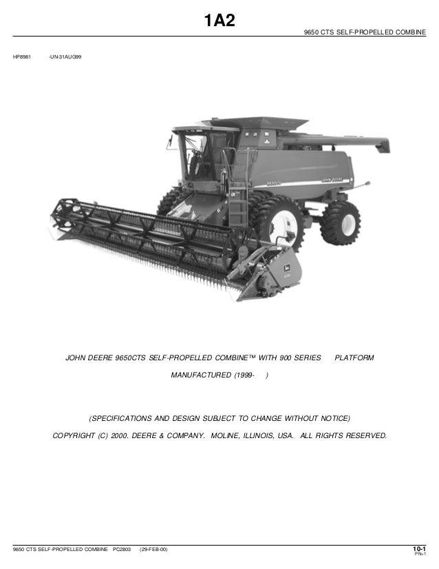 Combine Parts Of The Slideshow : John deere cts self propelled combine parts catalog
