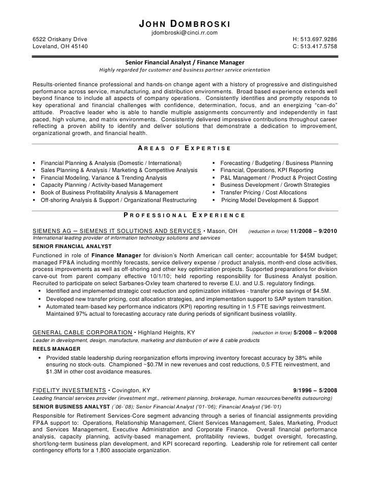 Analyst Budgeting Financial Forecasting Resume Sr - Senior
