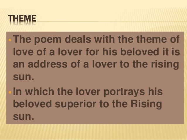 analysis of the poem the sun rising by john donne