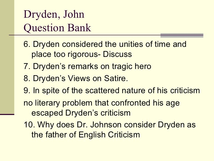 Dryden S Views On The Nature Of Poetry