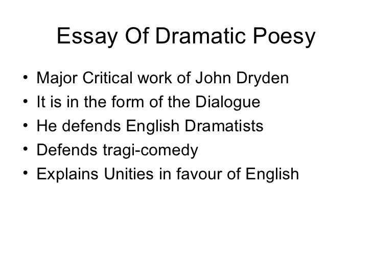 dryden essay of dramatic poesy sparknotes